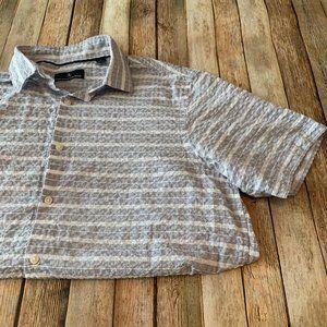 Hart Schaffner Marx stripe button down camp shirt